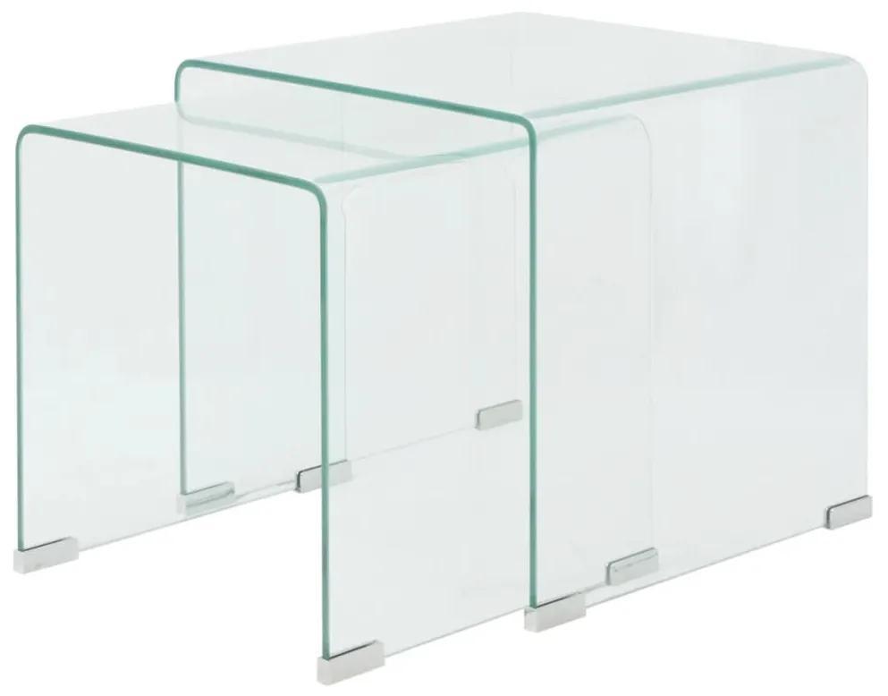 vidaXL Sada 2 zasúvacích stolíkov z tvrdeného skla, priehľadné