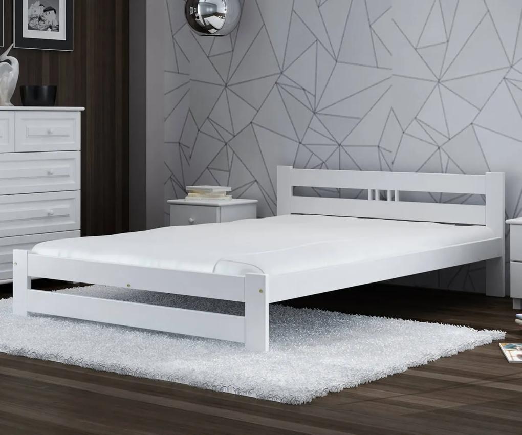 AMI nábytok Postel borovice LUX VitBed 140x200cm masiv bílá