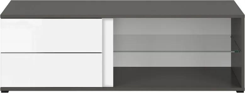 BRW Tv stolík Graphic RTV2S/120/C Farba: sivý wolfram / biely lesk
