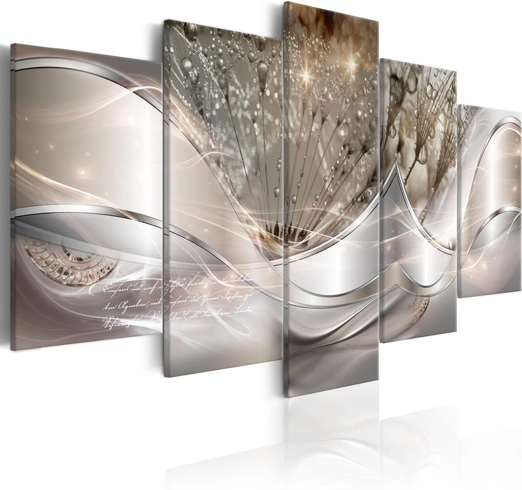 Obraz - Sparkling Dandelions (5 Parts) Beige Wide 200x100