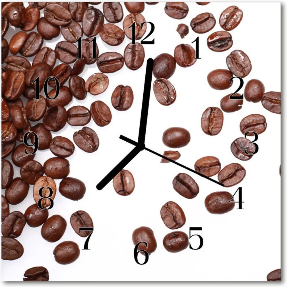 Skleněné hodiny čtvercové Zrnková káva