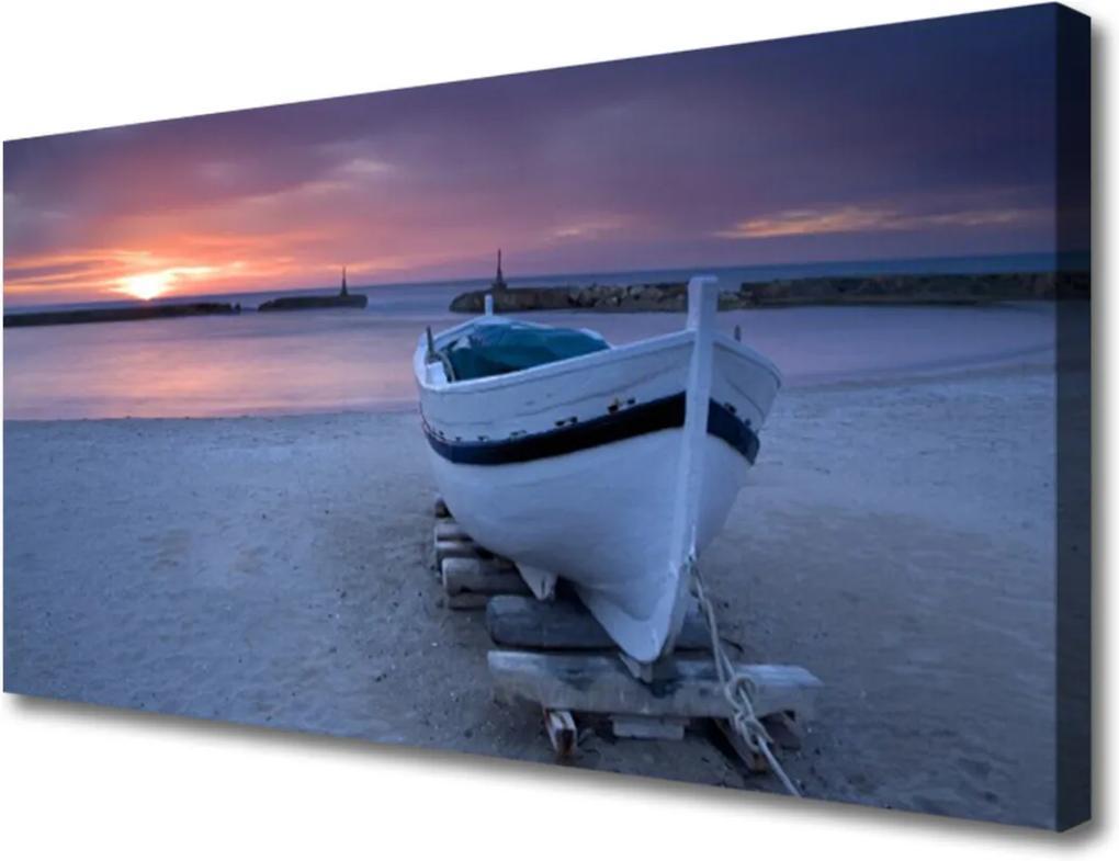Obraz Canvas Loďka pláž slunce krajina