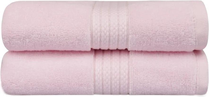 Sada 2 ružových uterákov do kúpeľni Mira, 90 x 50 cm