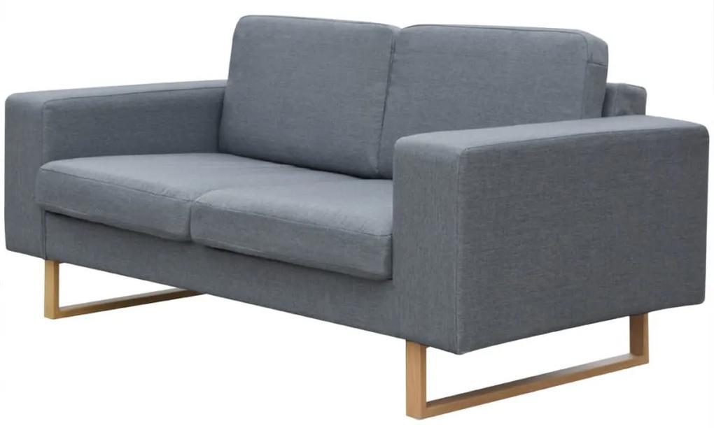 vidaXL Dvojmiestna pohovka textilná, šedá
