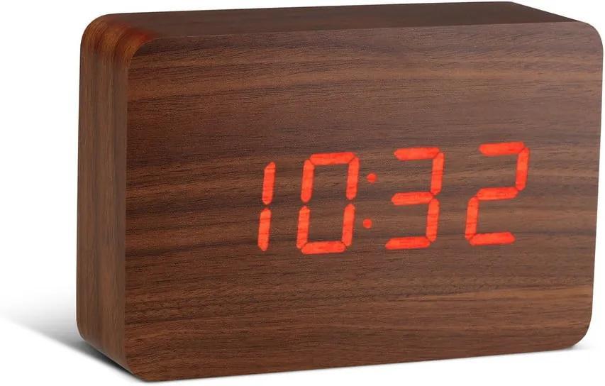Tmavohnedý budík s červeným LED displejom Gingko Brick Click Clock