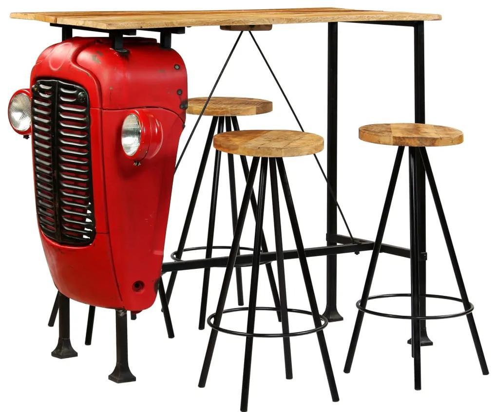 vidaXL Barová súprava, 5 ks masívne mangovníkové drevo 120x60x107 cm