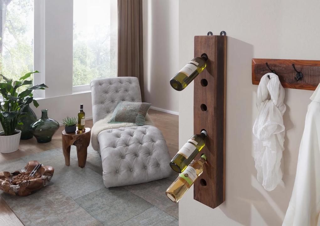 Bighome - OLDTIME Regál na víno 13x90 cm, staré drevo