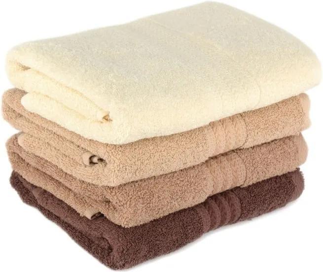 Sada 4 hnedých bavlnených uterákov Rainbow Home, 50 × 90 cm