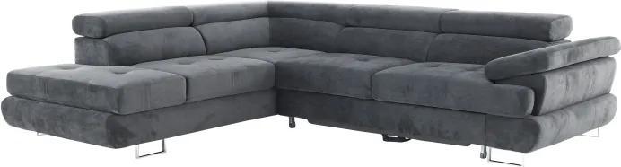 KONDELA Buton P L rohová sedačka sivá