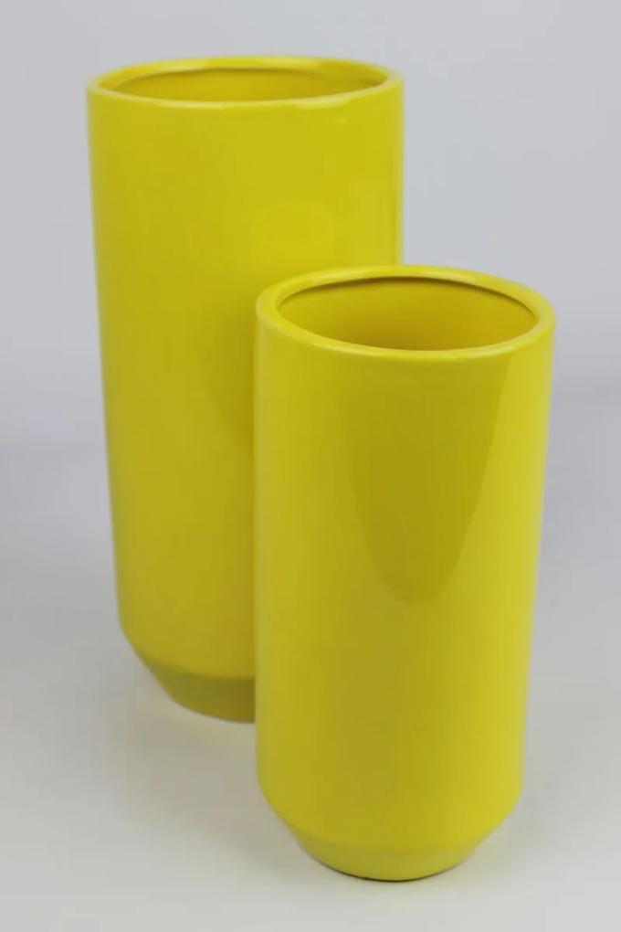 Žltá keramická okrúhla váza 25 cm
