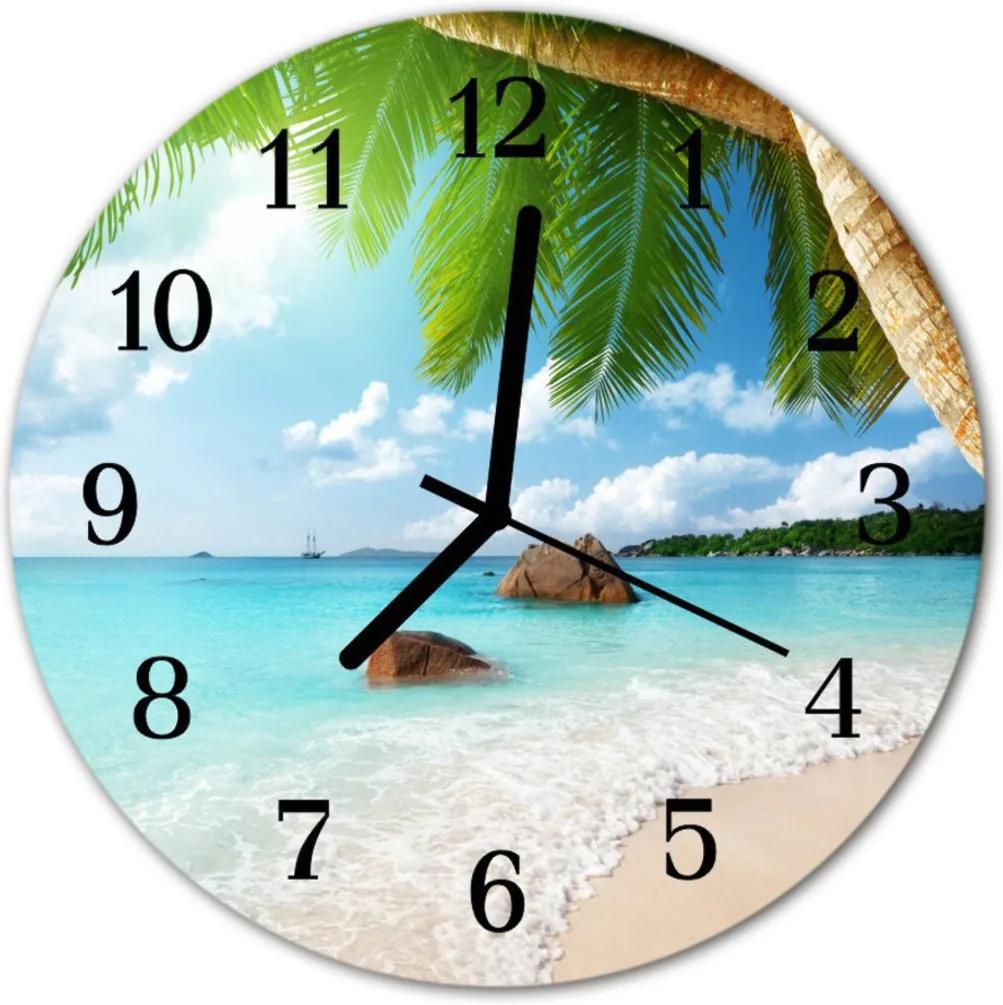 Nástenné skleněné hodiny ostrov