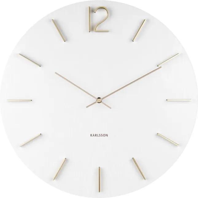 Biele nástenné hodiny Karlsson Meek, Ø 50 cm