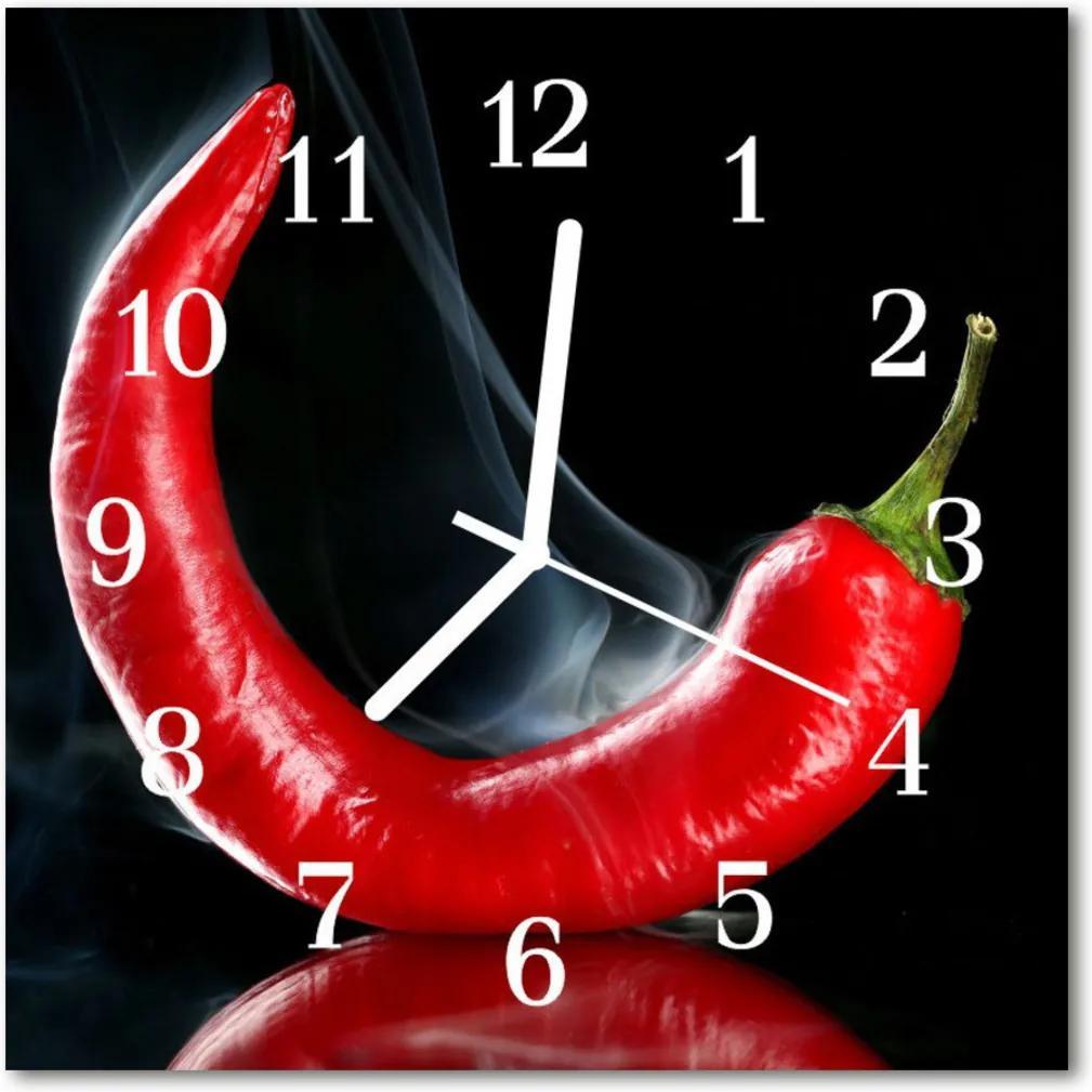 Nástenné skleněné hodiny Chili pepř