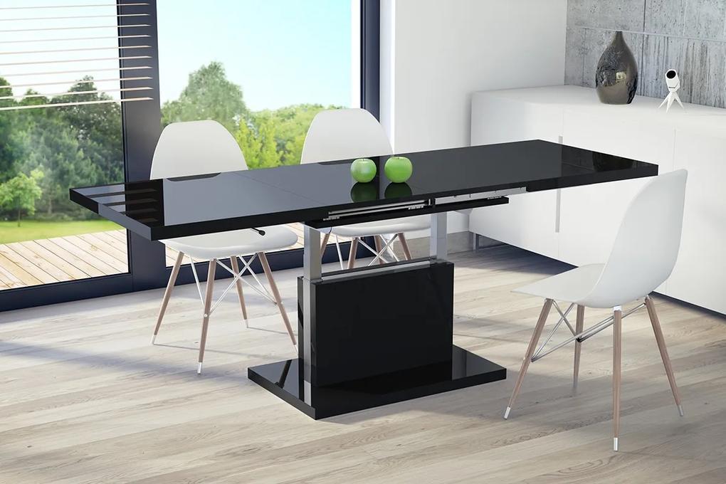 Mazzoni ASTON čierny lesk, rozkladací, zdvíhací, konferenčný stolík