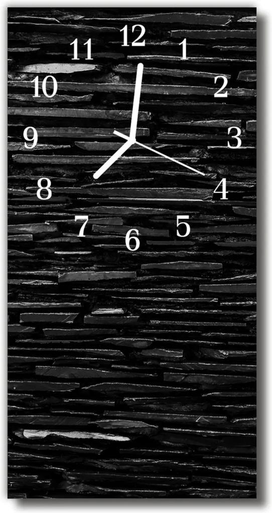 Sklenené hodiny vertikálne  Kamenná múr čierna