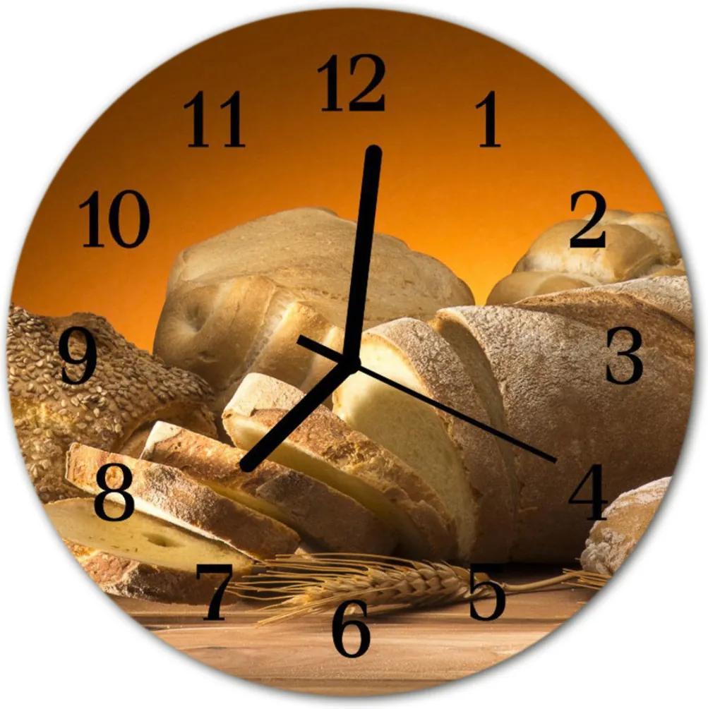 Nástenné skleněné hodiny chléb