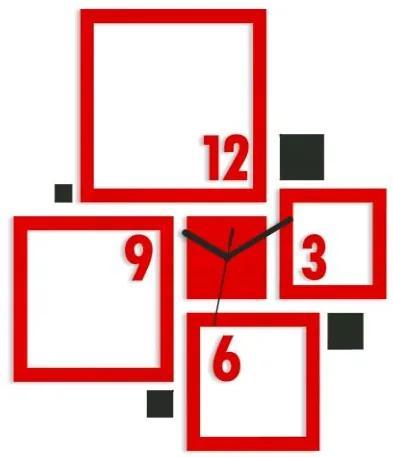 Mazur 3D nalepovací hodiny Quadrat červeno-černé