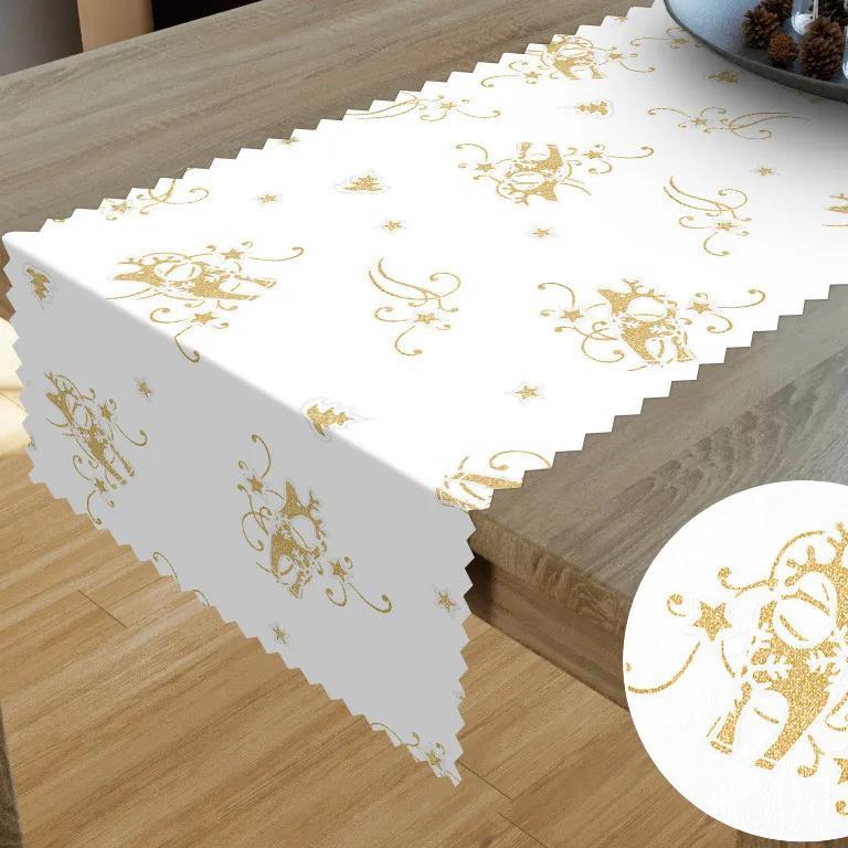 Goldea teflónový behúň na stôl - vzor zlatí vianoční sobi na bielom 20x180 cm