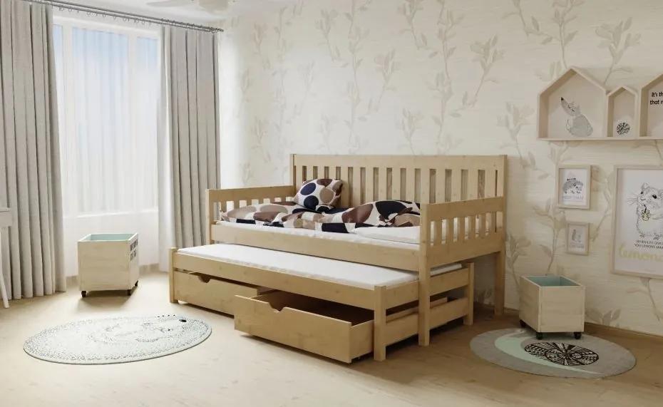 MAXMAX Detská posteľ s výsuvnou prístelkou z MASÍVU 200x80cm bez šuplíku - M06 200x80 NIE