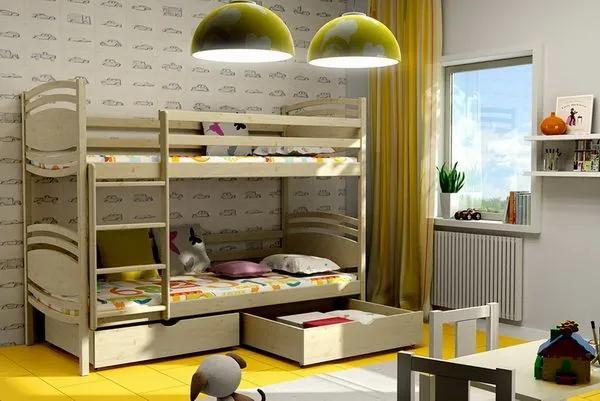 MAXMAX Detská poschodová posteľ z MASÍVU 180x80cm bez šuplíku - PP001