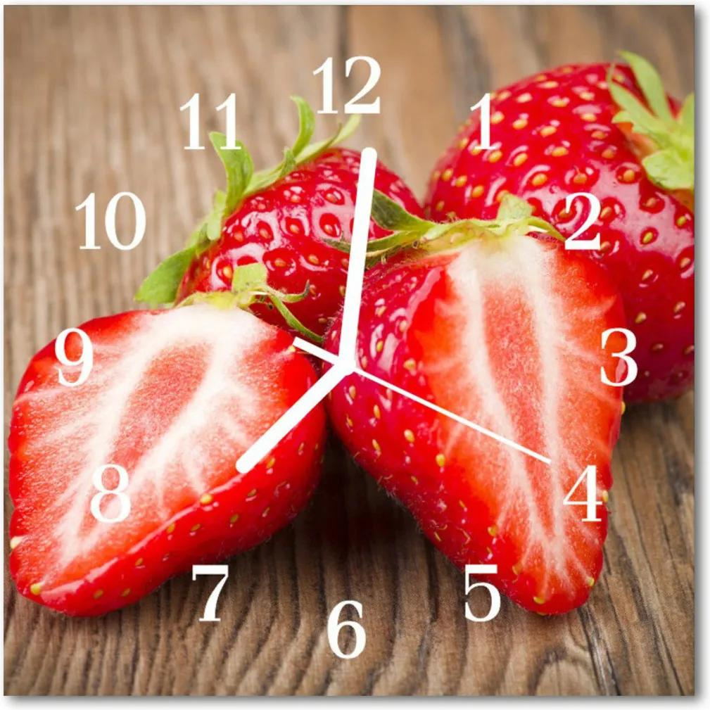 Nástenné skleněné hodiny jahody