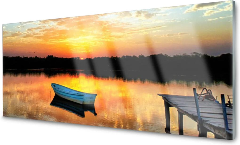 Skleněný obraz Loďka most jezero krajina