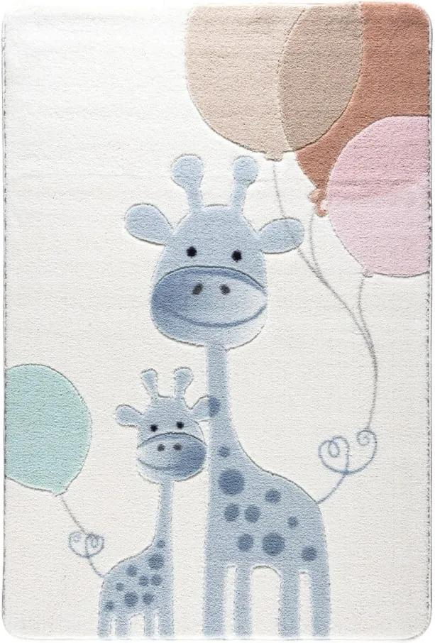 Detský svetlomodrý koberec Confetti Happy Giraffe, 133 x 190 cm