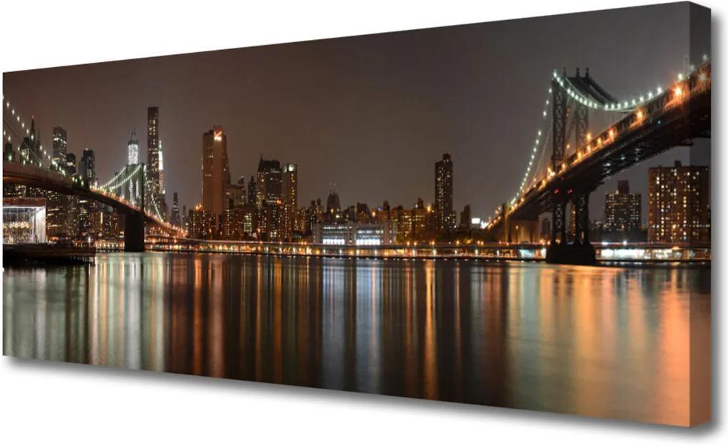 Obraz na plátně Město mosty architektura
