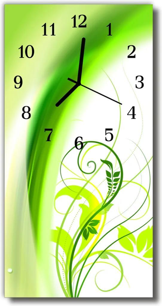 Skleněné hodiny vertikální Zelená rostlina
