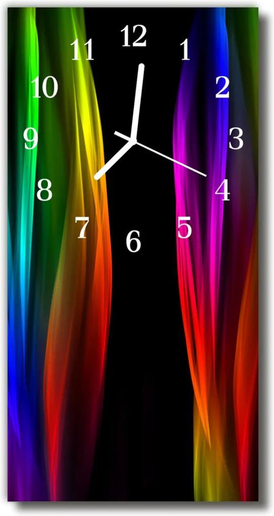 Sklenené hodiny vertikálne  Moderné farby dúhových farieb
