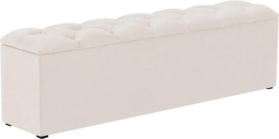 Béžový otoman k posteli s úložným priestorom Kooko Home Manna, 47 × 140 cm