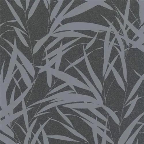 Vliesové tapety na stenu Ella 6753-20, bambusové listy strieborné na čierne textilne štruktúre, rozmer 10,05 m x 0,53 m, Marburg