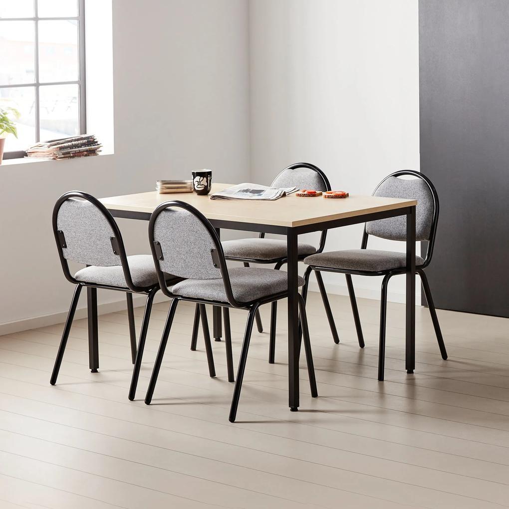 Jedálenská stolička Warren, šedé čalúnenie / čierna, celková šírka 495 mm