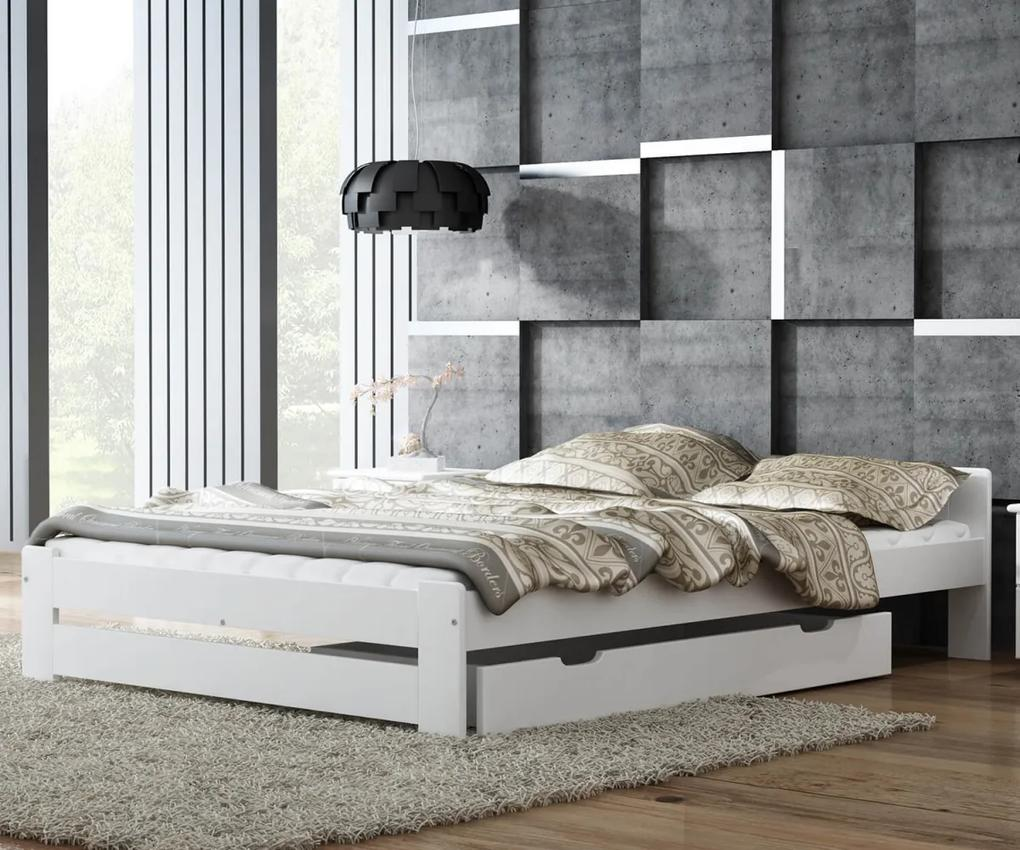 AMI nábytok Postel borovice Euro 140x200 masiv bílá