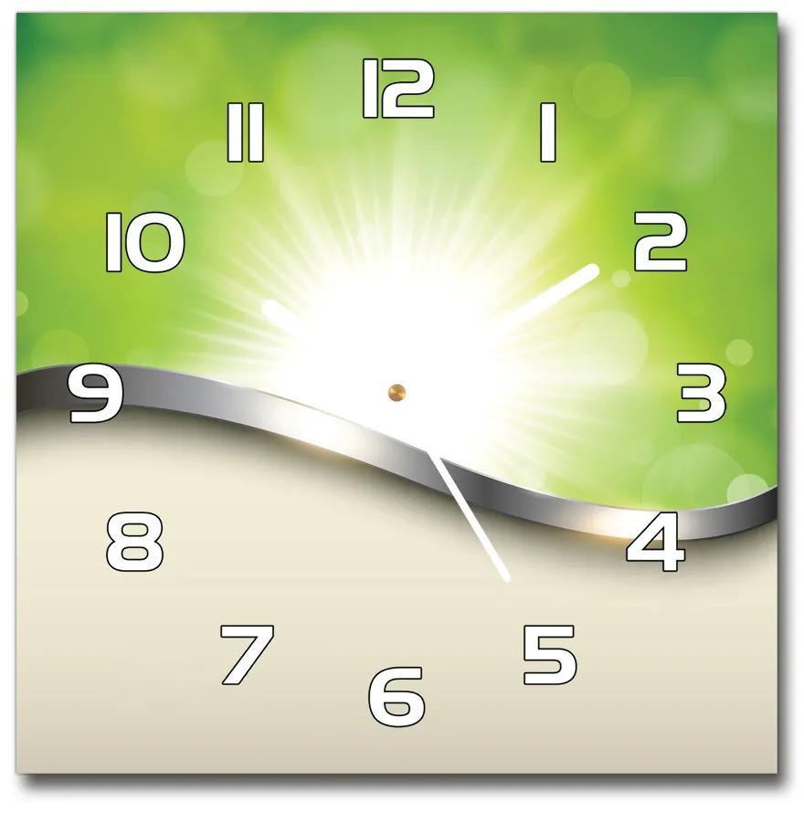 Sklenené hodiny štvorec Zelená abstrakcie pl_zsk_30x30_s_125208146
