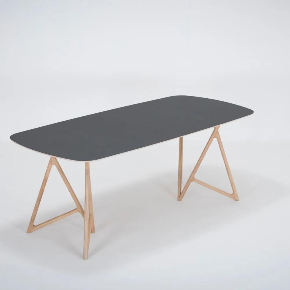 Jedálenský stôl z masívneho dubového dreva s čiernou doskou Gazzda Koza, 200 × 90 cm