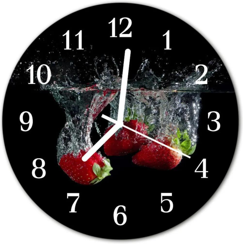 Sklenené hodiny okrúhle  jahody
