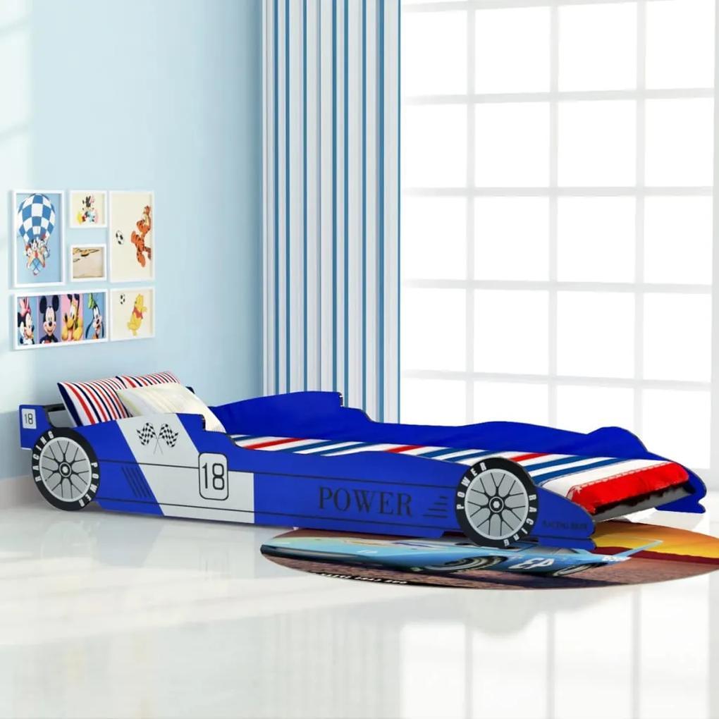 vidaXL Detská posteľ, pretekárske auto, 90x200 cm, modrá