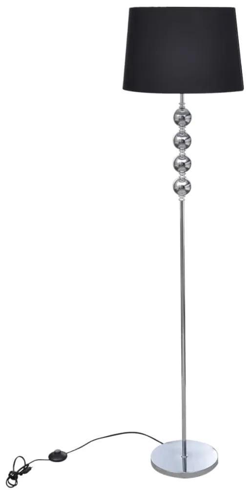 vidaXL Stojaca lampa s vysokým stojanom so 4 ozdobnými guličkami, čierna