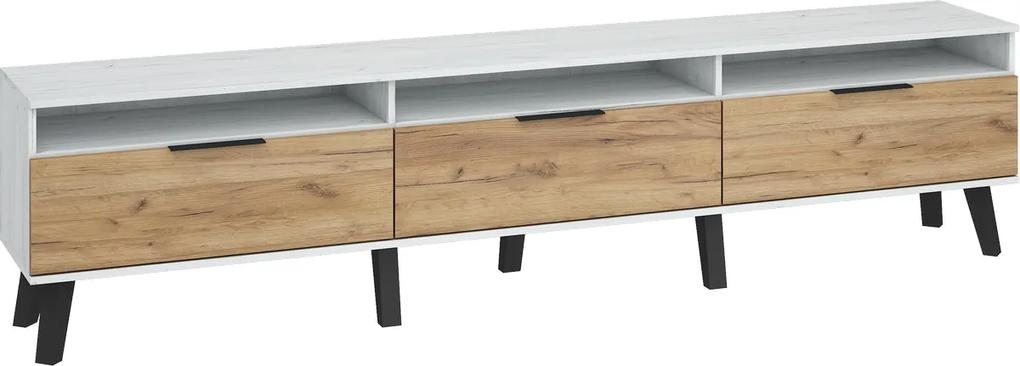 MEBLOCROSS Sven SVN-12 tv stolík craft biely / craft zlatý