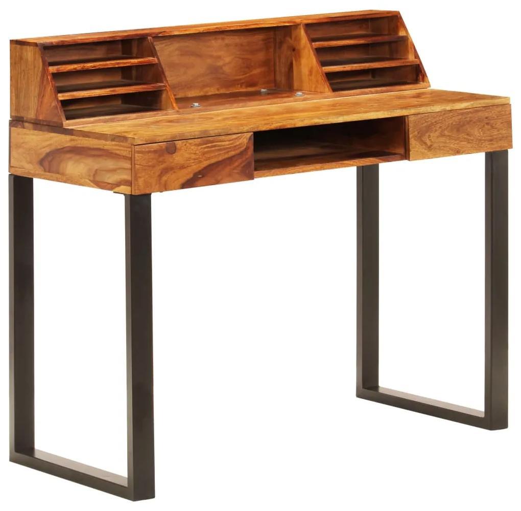 vidaXL Stôl 110x50x94 cm masívne sheeshamové drevo a oceľ