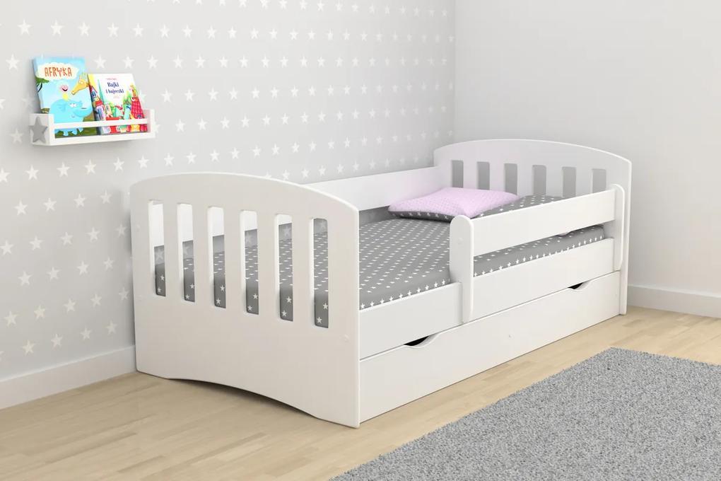 Detská posteľ CLASSIC - biela 180x80 cm posteľ + úložný priestor