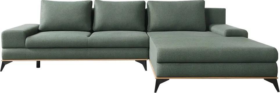 KONDELA Selby P rohová sedačka s rozkladom a úložným priestorom zelená