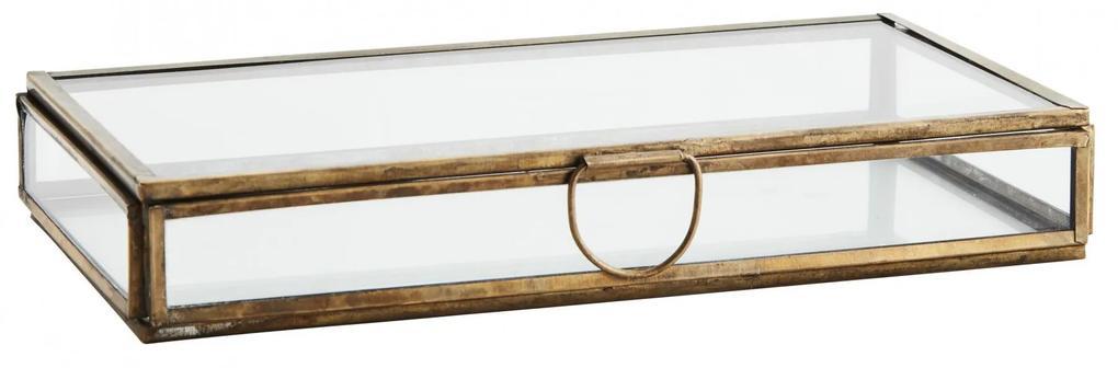 MADAM STOLTZ Sklenený box Aged Brass