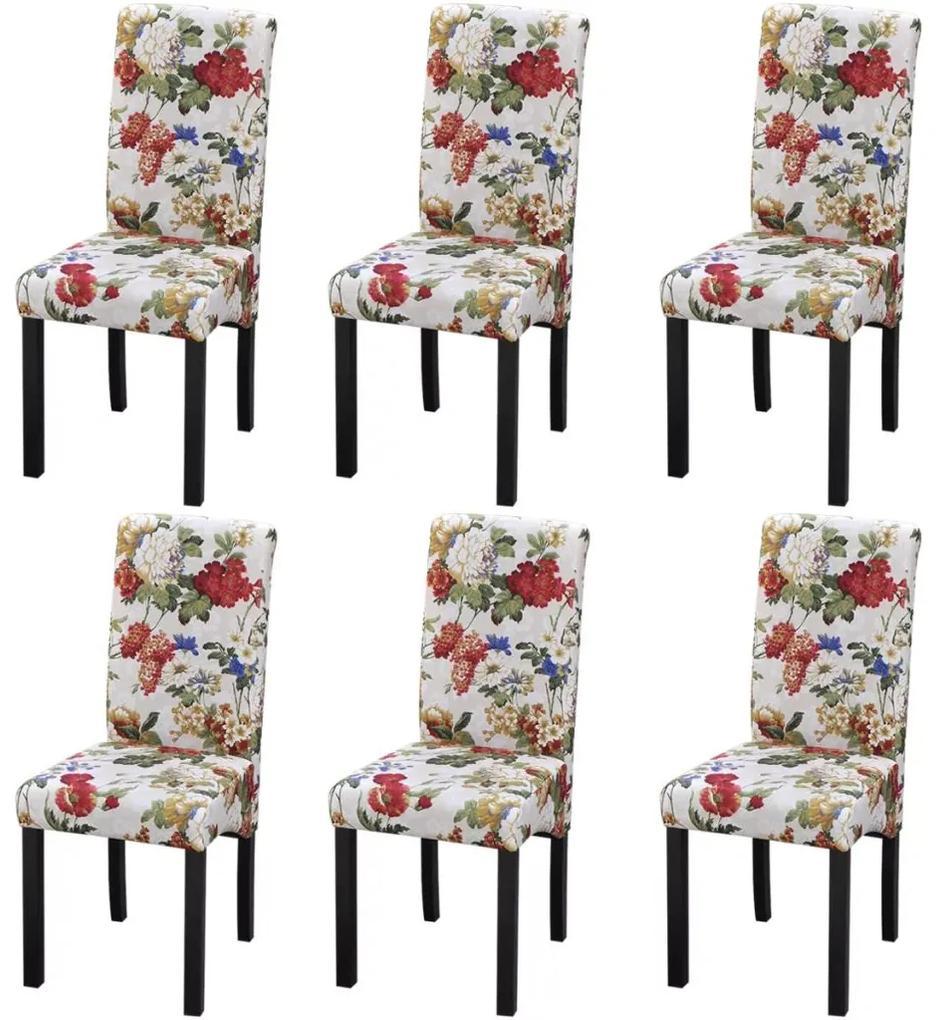 vidaXL Drevené kuchynské stoličky s kvetovaným vzorom  6 ks