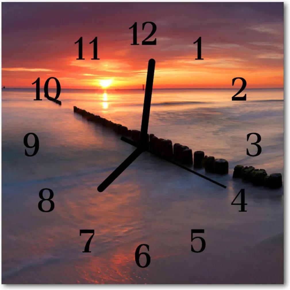 Skleněné hodiny čtvercové Mořské slunce