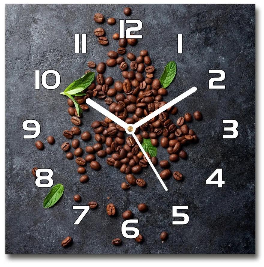 Sklenené hodiny štvorec Zrnká kávy pl_zsk_30x30_f_115651313