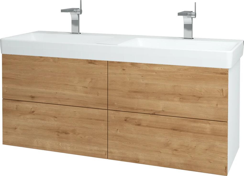 Dřevojas - Koupelnová skříň VARIANTE SZZ4 130 - N01 Bílá lesk / D09 Arlington (165253)