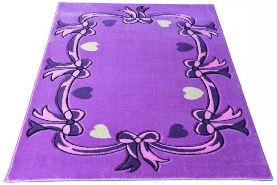 Detský koberec Mašličky fialový, Velikosti 133x190cm