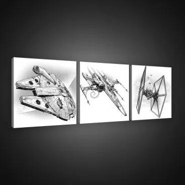 Obraz na plátne viacdielny - OB2600 - Star Wars 75cm x 25cm - S13